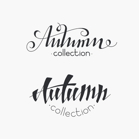 monochromatic: Isolated hand written inscriptions Autumn collection. Not auto-traced, two monochromatic objects. Illustration