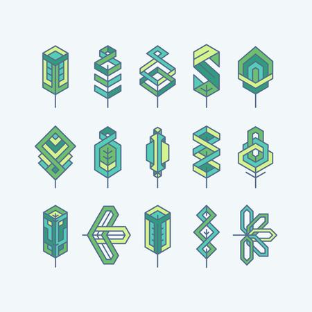 at symbol: Foglie verdi geometriche multicolore, un insieme di simboli isolati, loghi.