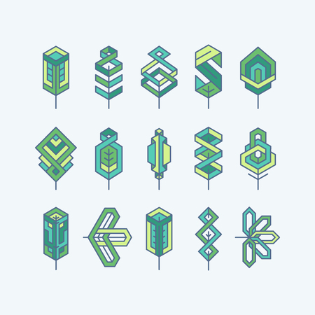 Green multicolor geometrical leaves, set of isolated symbols, logos.