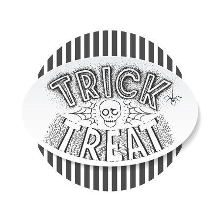 tratar: Truque do Dia das Bruxas ou o fundo lettering deleite. Mão cartão postal escrito, de impressão.