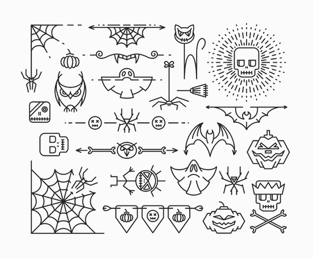 skeleton: Halloween mono line icons. Horror theme corners, dividers and design elements set. Outline isolated empty objects.