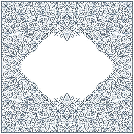 postcard background: Ornamental line background, monoline style. Square pattern wallpaper, postcard, advertisement with empty place for text.
