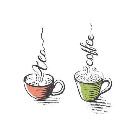 Isolated cups of tea and coffee, hand drawn, for menu, package, design with lettering steam decorations.