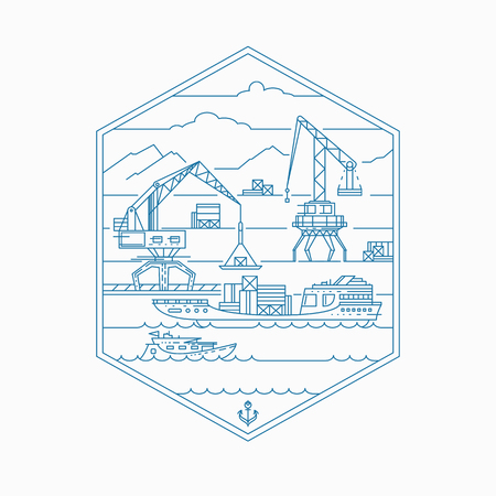 barge: Cargo port, empty outline illustration. Mono line marine shipping theme.