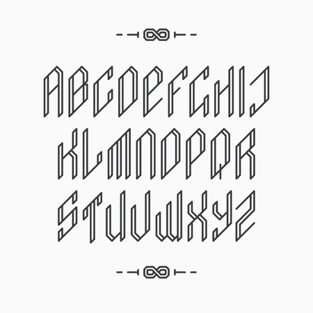 abc: Decorative line font. Outline empty monochromatic latin alphabet.