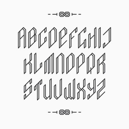 decorative line: Decorative line font. Outline empty monochromatic latin alphabet.