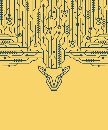 lineart: Christmas postcard, art deco linear style new year background, banner with decorative lineart deer horns.