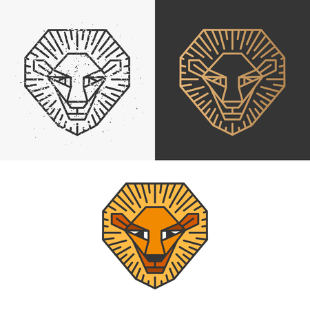 monochromatic: Outline lion symbol: monochromatic scratched one, golden one for dark background and colorful line lion.