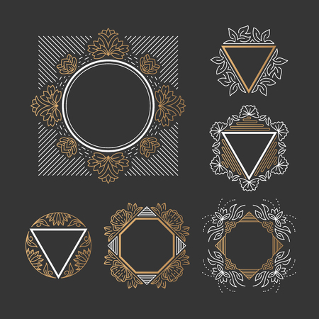 Set of line frames with floral and geometrical elements. Outline, empty, isolated graphical backgrounds.