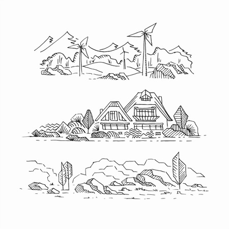 stony: Three hand drawn sketches of eco landscapes. Countryside: countryhouse, windmills, and stony land. Graphical monochromatic isolated panoramic sights. Illustration