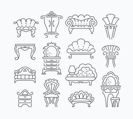 Line set of graphical retro furniture items, outline isolated vintage furniture objects. Ilustração