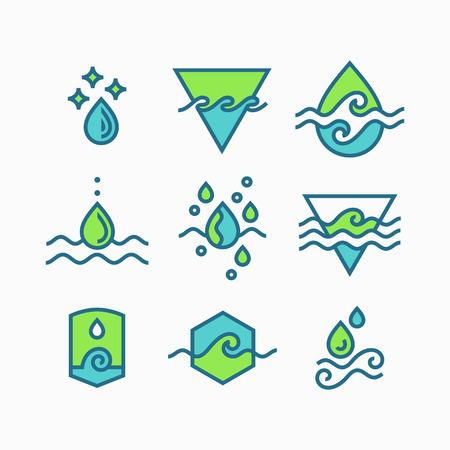 source d eau: Vecteur ligne ensemble de symboles de l'eau, legende icônes isolés.