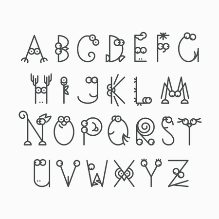 amasing: Cute line latin alphabet. Isolated, outline, empty letters for kids design. Illustration