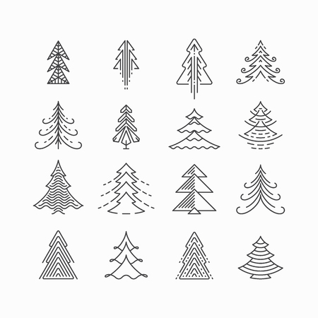 graphical: Graphical Christmas tree set, hipster linear style Illustration