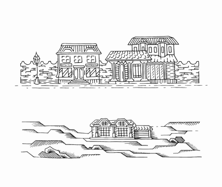Two hand drawn sketches of landscapes with buildings. Graphical monochromatic isolated panoramic sights.