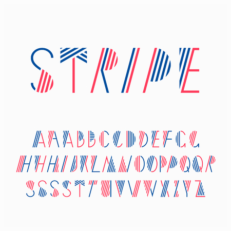 飾り付きの線のフォントです。ストライプのラテン系のアルファベット。いくつかの文字より良い設計のためのいくつかのバリエーションです。