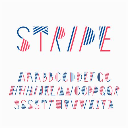 장식 줄 글꼴입니다. 스트라이프 라틴 알파벳입니다. 더 나은 디자인을 위해 일부 글자가 변형되어 있습니다. 일러스트