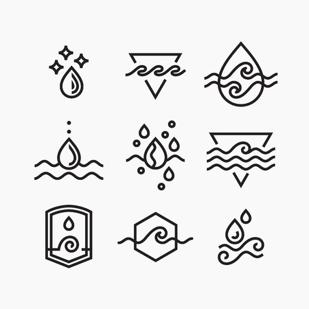 Vector line set of water symbols, outline isolated icons. Ilustração