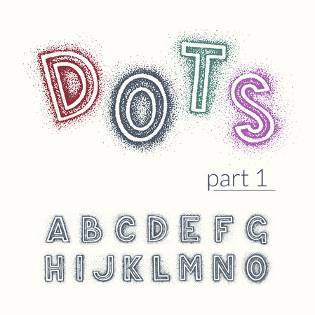 hand written: Hand drawn by dotted hatching latin vector font with punctuation marks, based on hand written letters. Easy to change color, isolated symbols with surrounding of each letter. Part 1.