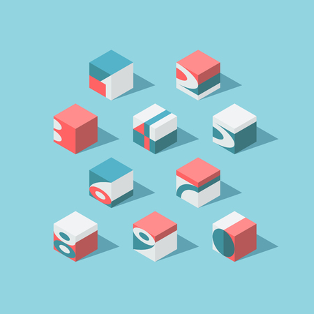 be the identity: Vector isometric cubical numerals. No gradients and transparency. Each figure can be used as logo or mark, for corporate and brand identity, or as an application icon. Illustration