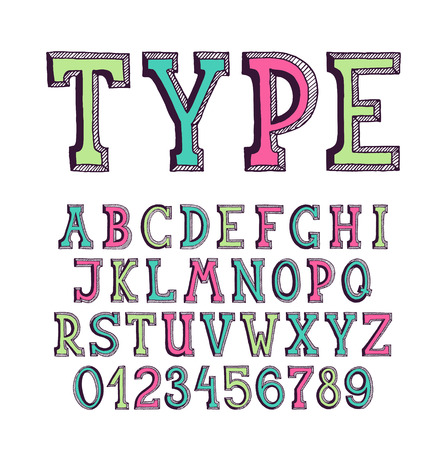 serif: Classical hand drawn serif font with numerals for banners and lettering, empty outline, monochromatic, based on hand written letters. Easy to change color.