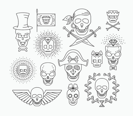 hallowmas: Set of outline empty skulls. Line hipster collection.