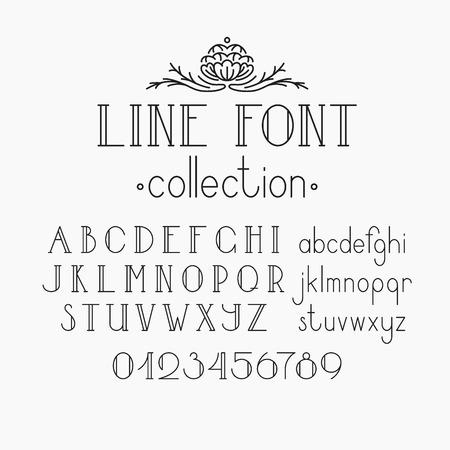 tipos de letras: Vector mono l�nea fuente decorativa. Alfabeto latino de letras contorno de la vendimia. Capitals, cargas fraccionadas y n�meros.