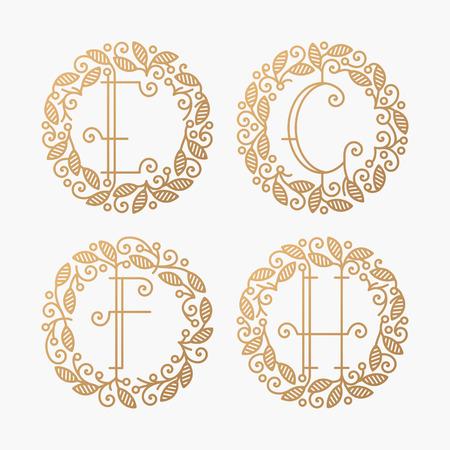 h: Set of line vector monograms, golden latin letters with floral frame - E, F, G, H. Illustration