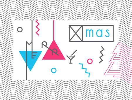 geometria: Cartel de la Navidad del arte geométrico, bandera contemporánea.