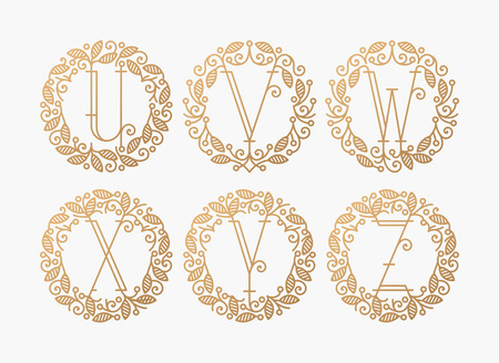 v shape: Set of line vector monograms, golden latin letters with floral frame - U, V, W, X, Y, Z. Illustration