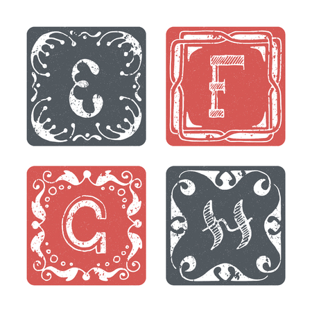 graphical: Set of graphical vector initials, hand drawn ornamental letters, isolated - E, F, G, H.