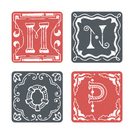 graphical: Set of graphical vector initials, hand drawn ornamental letters, isolated - M, N, O, P.