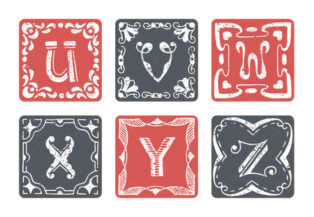 graphical: Set of graphical vector initials, hand drawn ornamental letters, isolated - U, V, W, X, Y, Z.