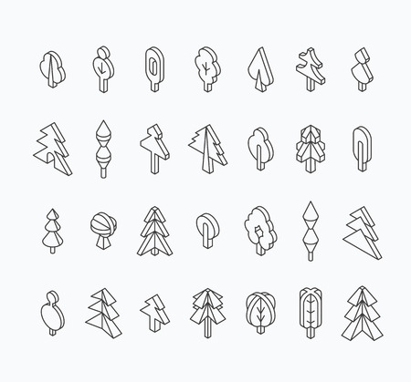 graphical: Graphical tree set, isometric line style. Outline empty isolated objects.