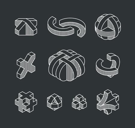 perspectiva lineal: Conjunto de formas geométricas vectoriales, logotipos línea isométrica y elementos de diseño de esquema.