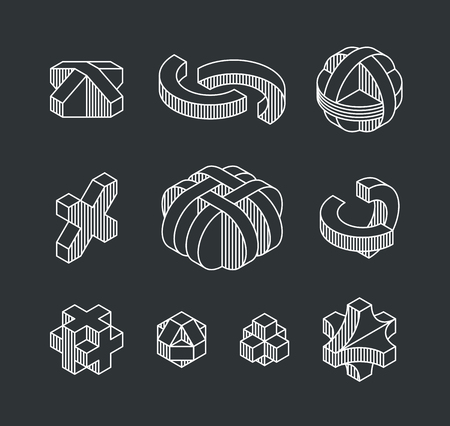 engeneering: Set of vector geometrical shapes, isometric line logotypes and outline design elements.
