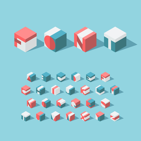 type: Vector isometric cubical alphabet. Latin typeface. No gradients and transparency. Each letter can be used as logo or mark, for corporate and brand identity, or as an application icon. Illustration