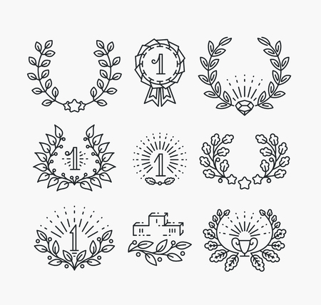 podium: Set of line victory symbols and laurel wreaths. Isolated hipster style winner objects.