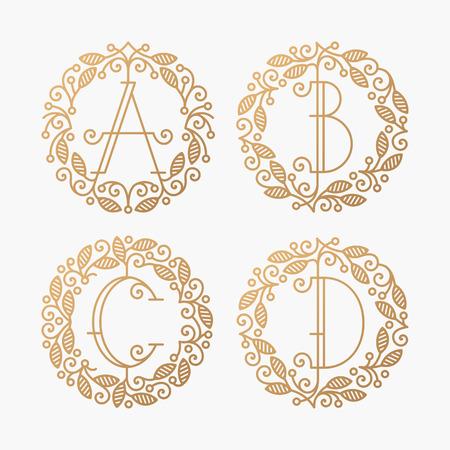Set of line vector monograms, golden latin letters with floral frame - A, B, C, D. Illustration