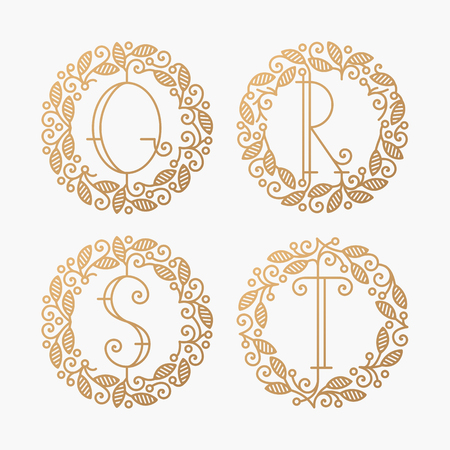 Set of line vector monograms, golden latin letters with floral frame - Q, R, S, T.