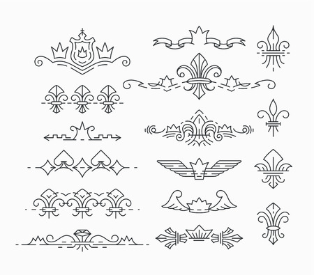 king and queen: Set of line, empty royal symbols, fleur-de-lis and crown headers, dividers. Isolated, editable outline decorations. Illustration
