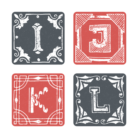 l first: Set of graphical vector initials, hand drawn ornamental letters, isolated - I, J, K, L. Illustration