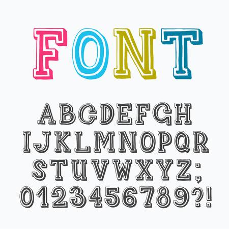 Fuente latino Serif con números y signos de puntuación, basado en las letras dibujadas a mano. Ilustración de vector