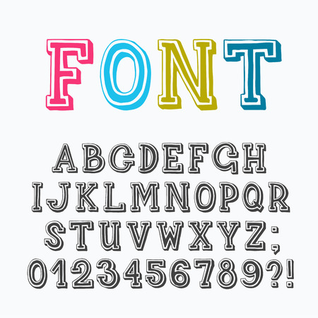 letter: Serif latin font with numerals and punctuation marks, based on hand drawn letters.