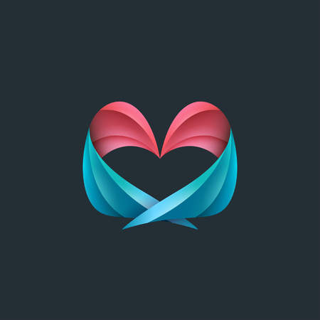 heart with wings: Heart, wings, hugs and love conceptual logo, mark, identity.