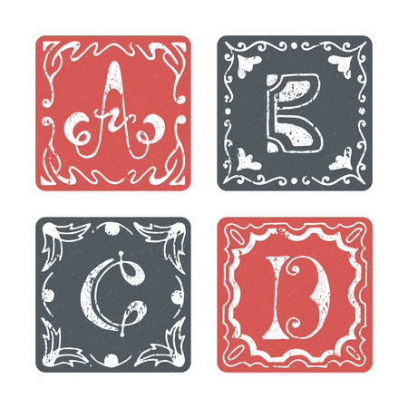 graphical: Set of graphical vector initials, hand drawn ornamental letters, isolated - A, B, C, D.