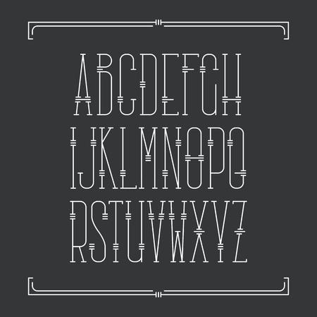 serif: Decorative line font. Monoline serif latin alphabet.