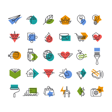 accents: Vector line icons set with color geometrical accents. Web, travel, money, shopping, love, mail, lifestyle thematic collection.