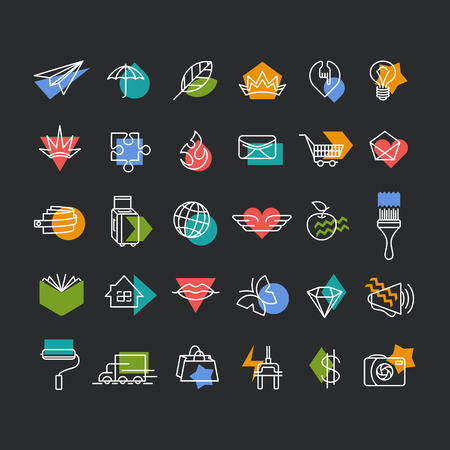 accents: Vector line icons set with color geometrical accents. Web, travel, money, shopping, love, mail, lifestyle thematic collection for dark background.