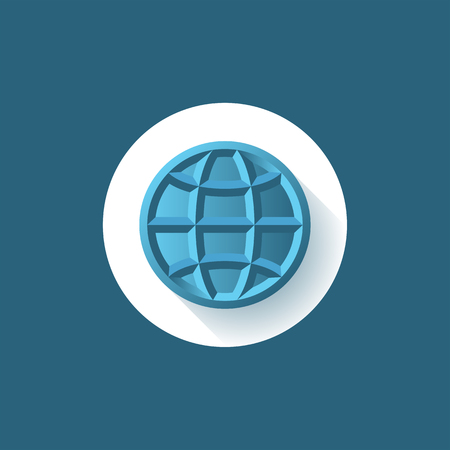 globe logo: Globe sign, symbol of the Earth global process, logo, simple outline form. Brand identity symbol.